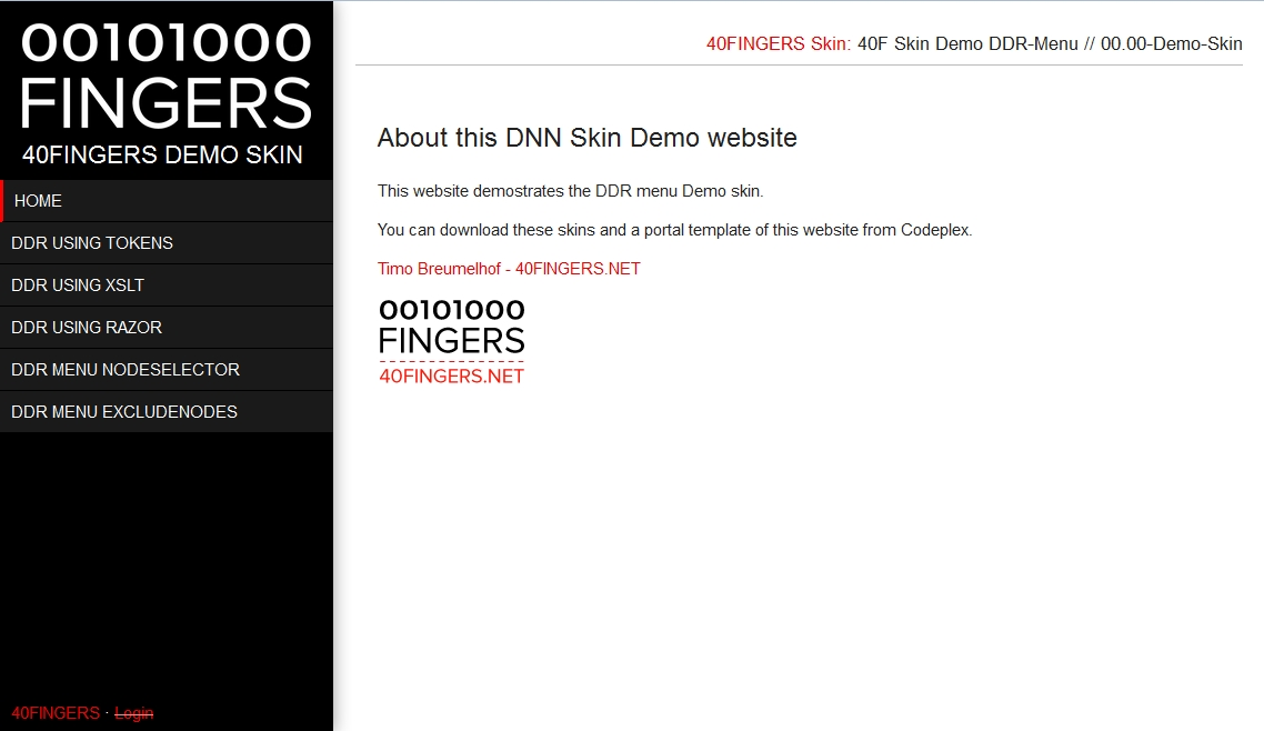 DNN Demo Skin Framework Attributes